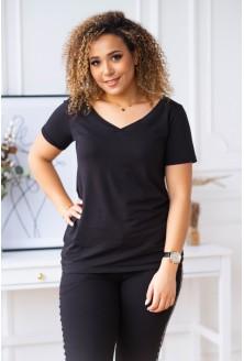 Czarna bluzka z dekoltem w serek - CLER