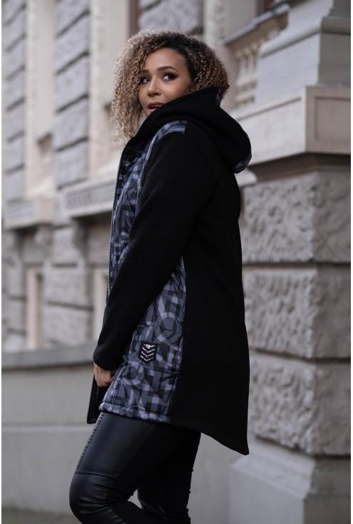 czarna bluzokurtka w modny szary nadruk