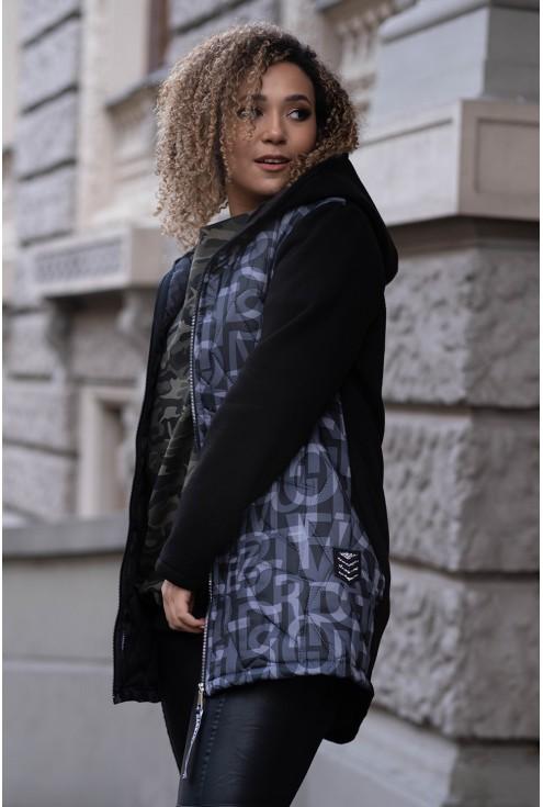 bluzo-kurtka dresowa plus size z kapturem