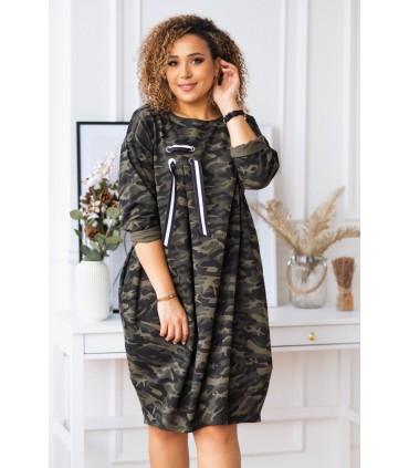 Moro sukienka oversize z ozdobną wstążką - AJANA