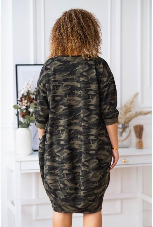 Moro sukienka oversize z ozdobną wstążką