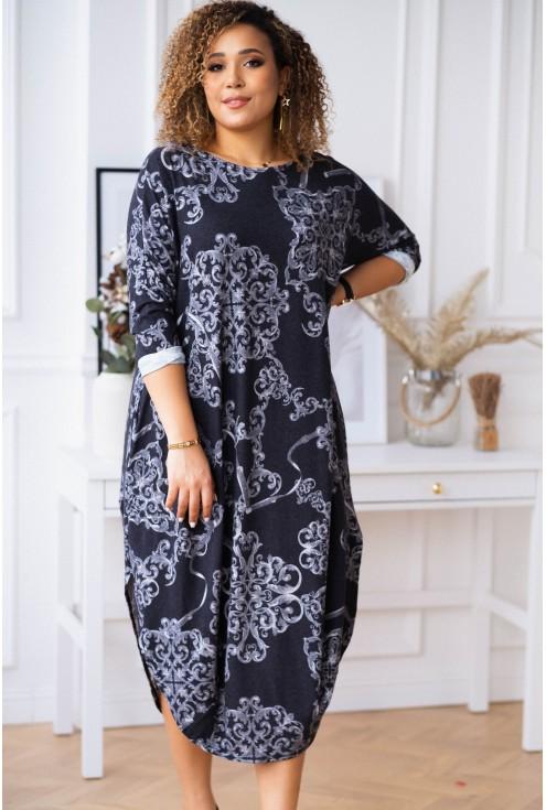 Długa czarna sukienka z szarym wzorem