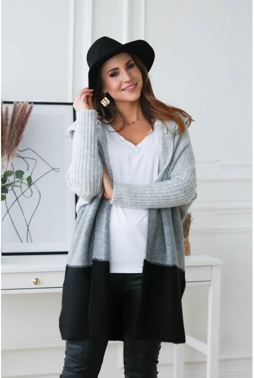 niezapinany sweter plus size z kapturem