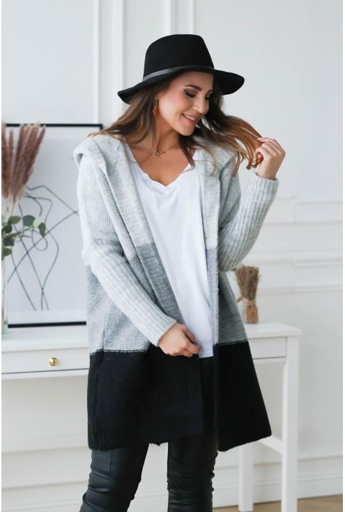 szaro czarny sweter xxl