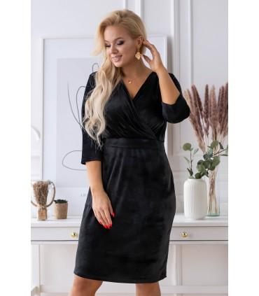 Czarna welurowa sukienka z kopertowym dekoltem - LISHA