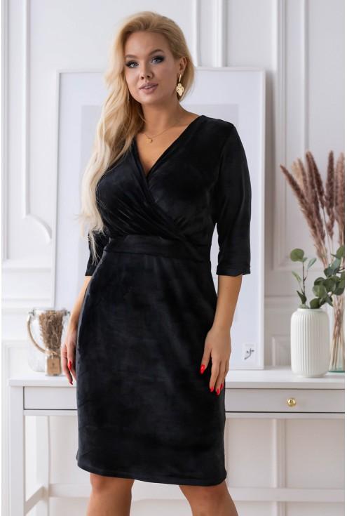 czarna sukienka xxl z kopertowym dekoltem