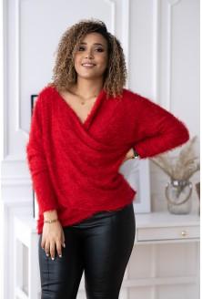 czerwony sweter z kopertowym dekoltem xxl