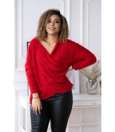 Czerwony sweter z kopertowym dekoltem - OTILIA