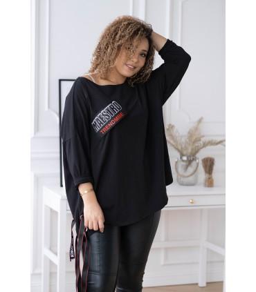 Czarna bluzka z naszywką i wiązaniem - BONNI