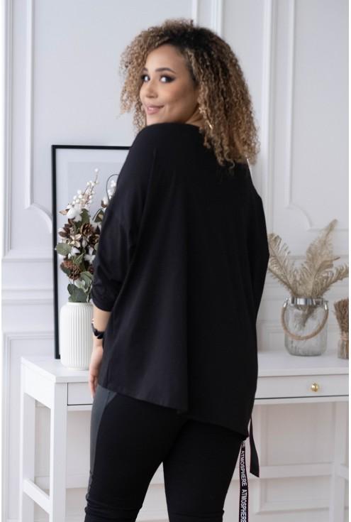 czarna bluzka oversize z modnym wiązaniem