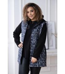 Czarna bluzo-kurtka z łączonych materiałów w szare litery - KATY