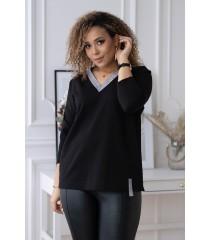Czarna bluzka ze srebrnym dekoltem - MADISON