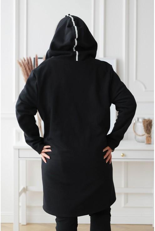 czarna gładka bluza xxl z kapturem i ozdobnym lampasem