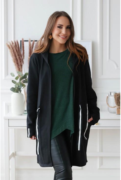 czarna modna bluza z kapturem duży rozmiar