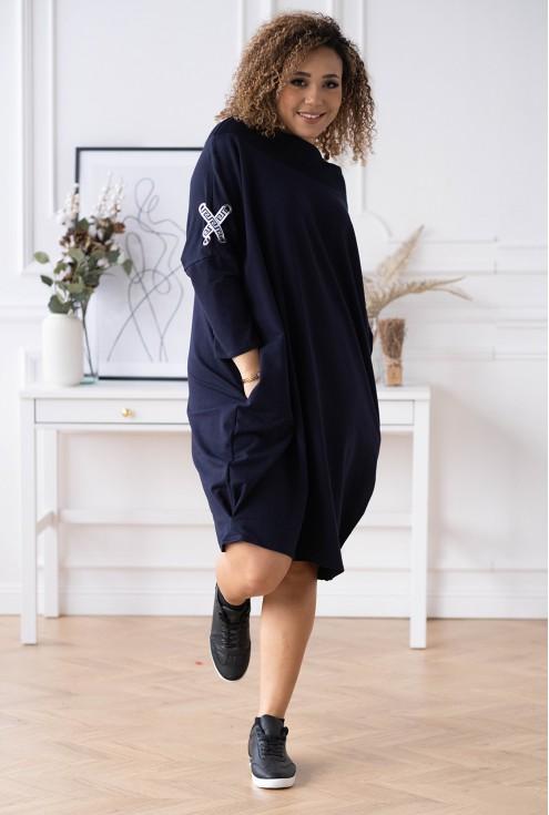 modna granatowa sukienka xxl
