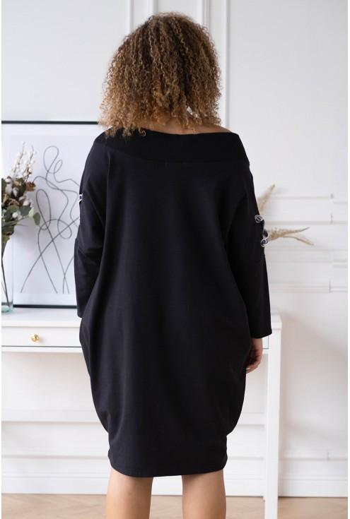 czarna modna sukienka hiszpanka plus size