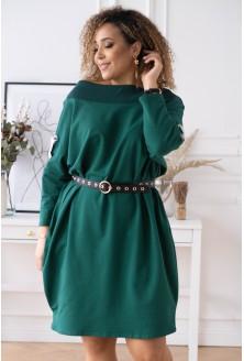 butelkowa sukienka EYE z ozdobnymi krzyżykami na rękawach