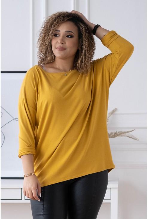musztardowa bluzka basic LA MAX xxl