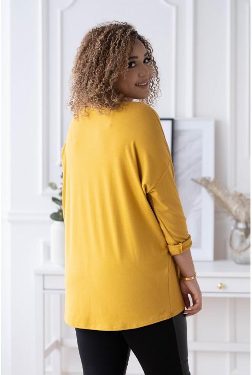 musztardowa bluzka basic - duży uniwersalny rozmiar