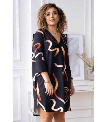 Czarna sukienka w złoty ombre wzór - CHIARA