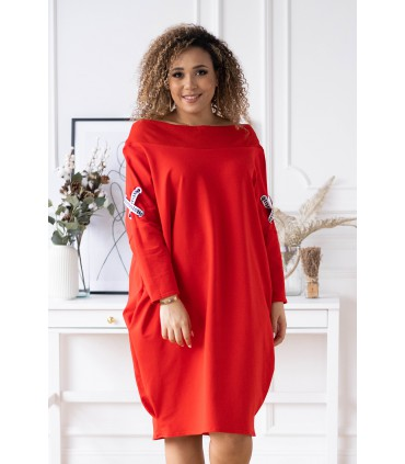 Czerwona sukienka z krzyżykami - Eye