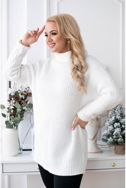 Ciepły sweter-tunika z golfem - RONNIE kremowa biel