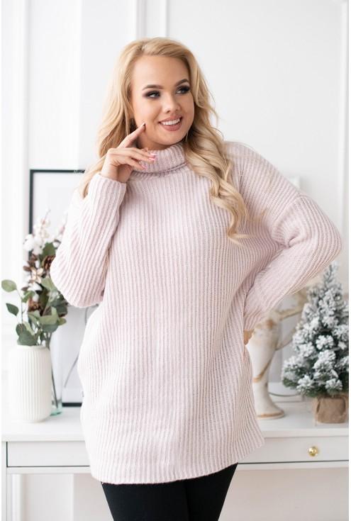 pudrowy sweter plus size xxl