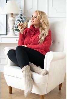 czerwony malinowy sweter plus size xxl