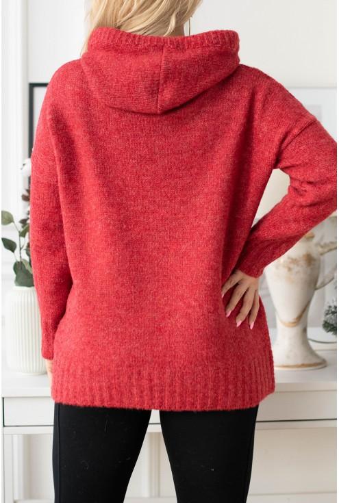 tył czerwony sweterek plus size xxl