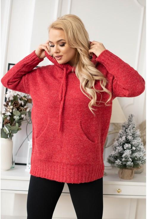 czerwony sweterek z kapturem bianca xxl