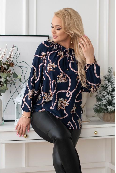 Granatowa bluzka hiszpanka z ciekawym wzorem - ADORA
