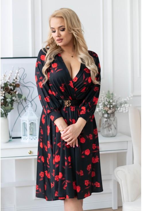 Czarna sukienka w czerwone kwiaty - MINDI
