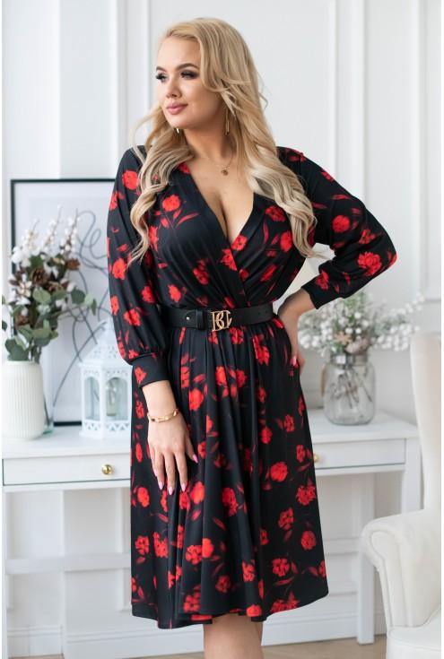 sukienka rozkloszowana w kwiaty plus size xxl