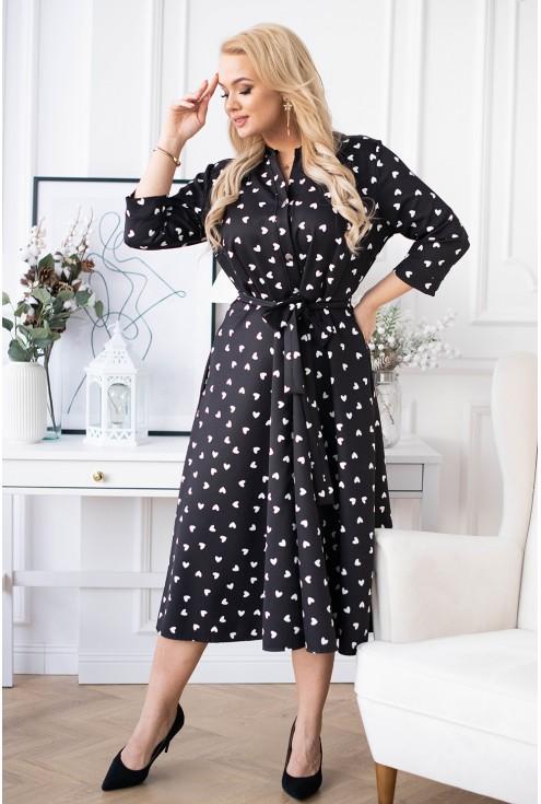 Czarna rozkloszowana sukienka w serduszka Rosie