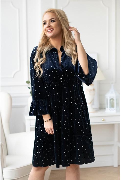 Granatowa aksamitna sukienka z gwiazdkami