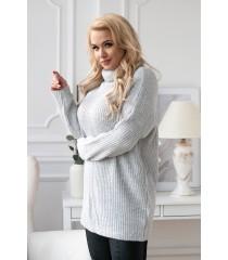 Szary ciepły sweter-tunika z golfem - RONNIE