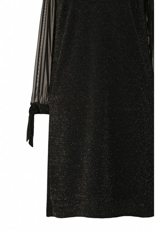 Czarna błyszcząca sukienka z tiulem xxl