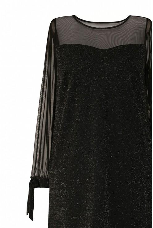 Czarna błyszcząca sukienka z wiązaniem na rękawie plus size