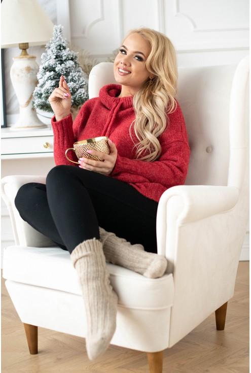 czerwony sweterek kapturek plus size xxl