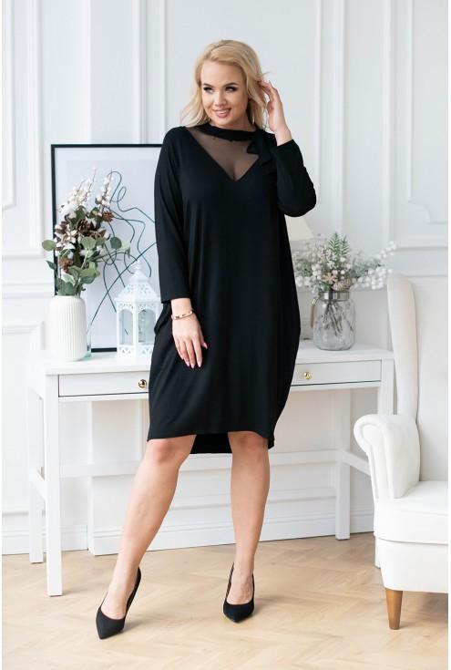 Czarna sukienka z siateczką i wiązaniem przy dekolcie - SECRET