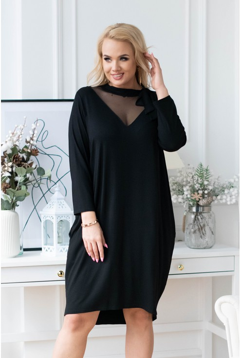 czarna sukienka z siateczką secret