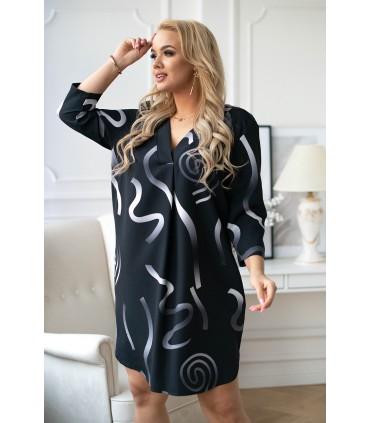 Czarna sukienka w szary-srebrny ombre wzór - CHIARA