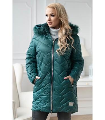 Butelkowa zimowa pikowana kurtka z suwakami po bokach - RUBY
