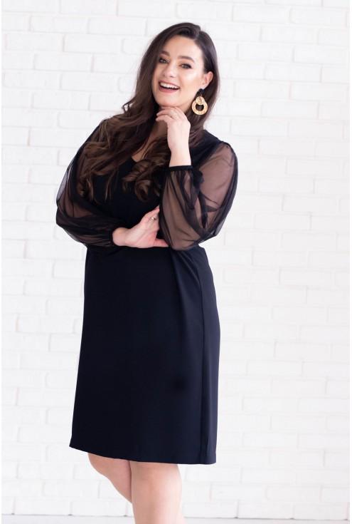 Czarna sukienka z tiulowymi rękawami i kopertowym dekoltem - MORENA