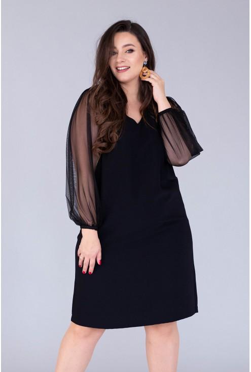 czarna sukienka morena tiulowe rękawy xxl