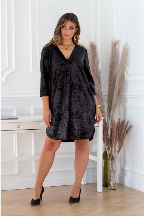 czarna sukienka aksamitna xxl