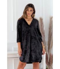 Czarna sukienka Chiara - prasowany welur