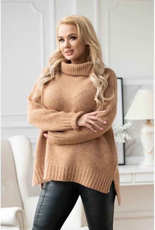 sweter-tunika z golfem ze ściągaczem