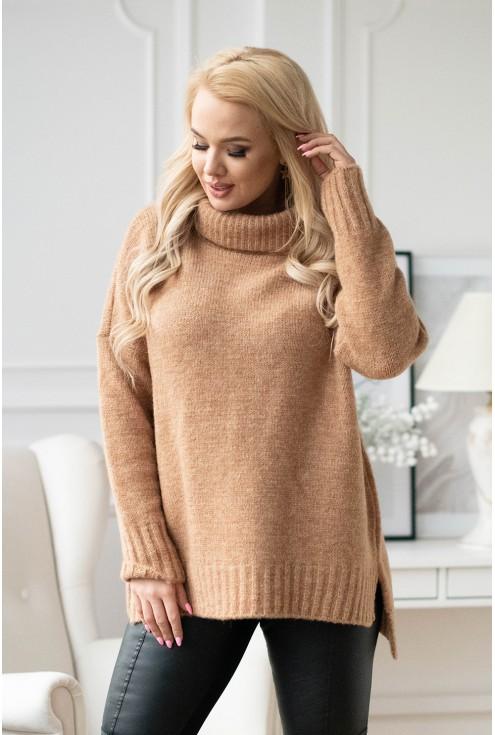 ciepły sweter-tunika z golfem