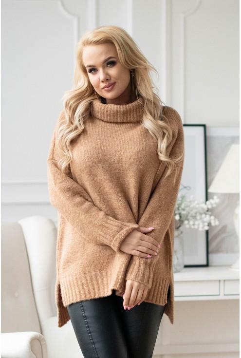 Karmelowy ciepły sweter Lesca